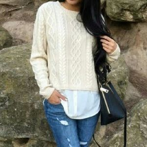 Monteau Sweaters - Monteau • Elbow Patch Cable Knit Sweater